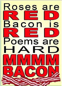 Roses Are Red Mmm Bacon funny fridge magnet  (ga)